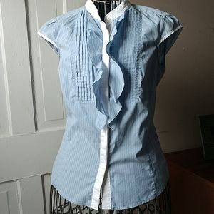 Express Stretchy Blue Striped Blouse S